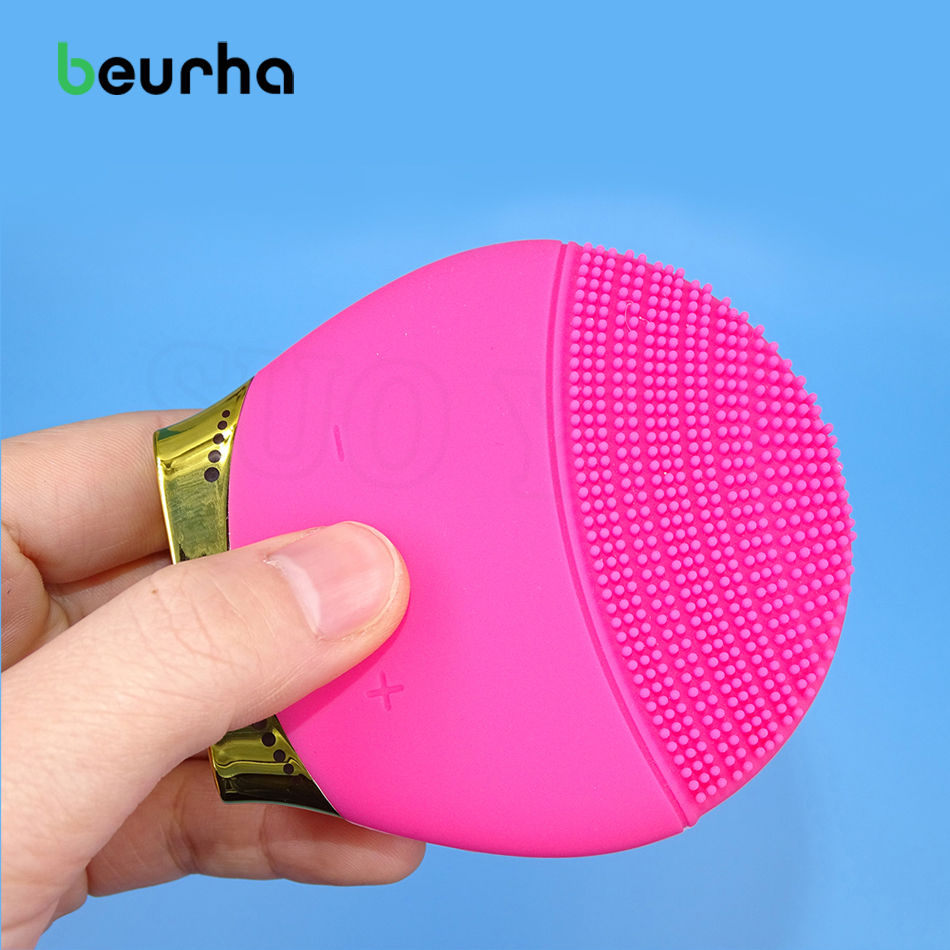 Beurha Electric Face Cleanser Vibrate Pore Clean Silicone Cleansing Brush Massager Facial Vibration Skin Care Spa Massage 5 in 1 electric facial cleanser face skin care set cleansing brush massager pore cleaner deep clean remove black spots