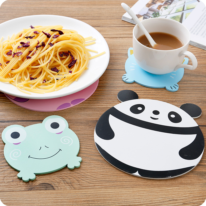 2pieces/set Lovely Panda Pattern Heat Resistant Wooden Pot Pad And Cup Mat Placemat Table Mat Gadget Kitchen Accessories JSF-025