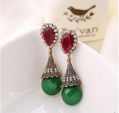 New Fashion Jewelry Vintage Style Water Drop Shaped Earrings With Red And Green Color Stone For