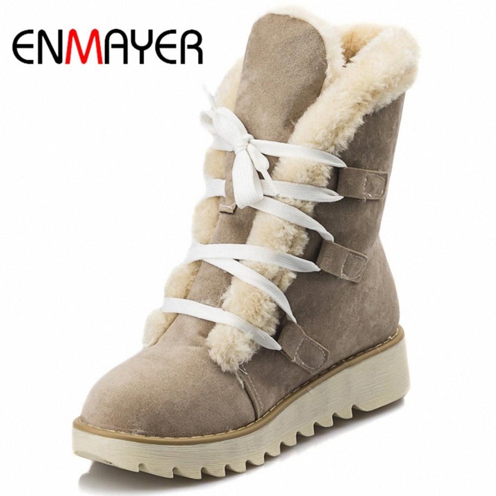 ENMAYER Ankle Boots Women U.S Large Size 34 43 New Cute Style Warm Calf Suede Women Boots Flat Shoes Snow Boots Shoes Women