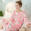 Pajamas women 's autumn and winter sets thicker flannel warm coral cashmere cute cartoon new home service pyjamas women