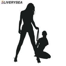 SLIVERYSEA Otomobil Motosiklet Güzel Seksi Kadın Bikini Dekoratif duvar çıkartmaları Karikatür Araba Sticker Siyah/Beyaz # B1136