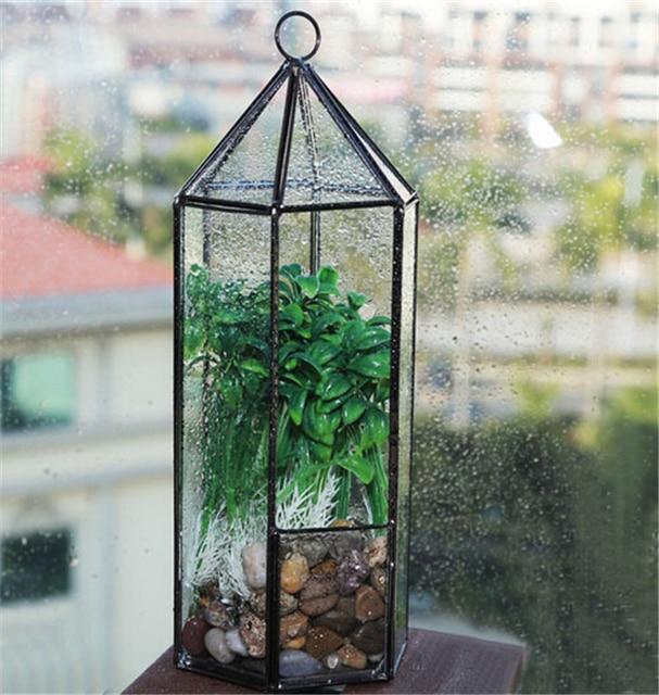 hexagonal cristal colgante jardn terrario plantas holder terrario casa geomtrica terrario para interiores de