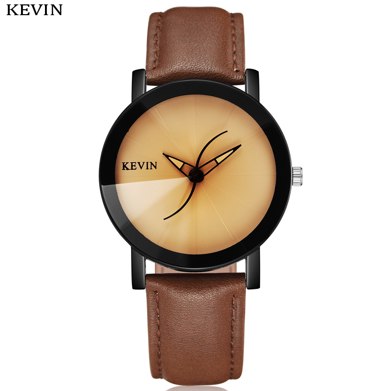 KEVIN Unique Fashion Womens Watches Curve Pointer Design Beige Round Dial PU Leather Band Dresses Quartz Wrist Watch Mens Gifts