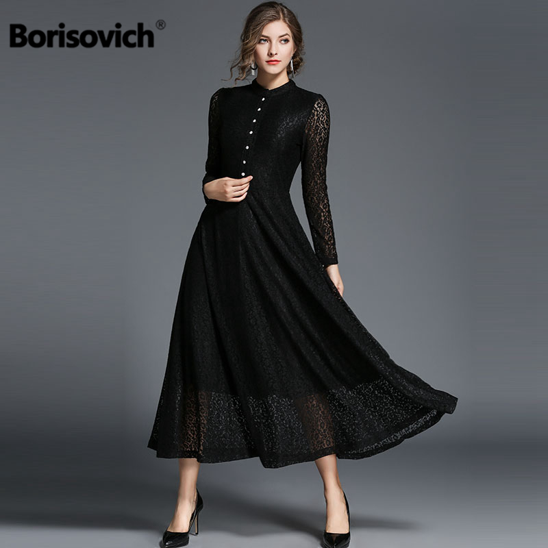 Borisovich Luxury Lace Casual Maxi Dress New Brand 2018 Autumn Fashion Big Swing Elegant Women Evening
