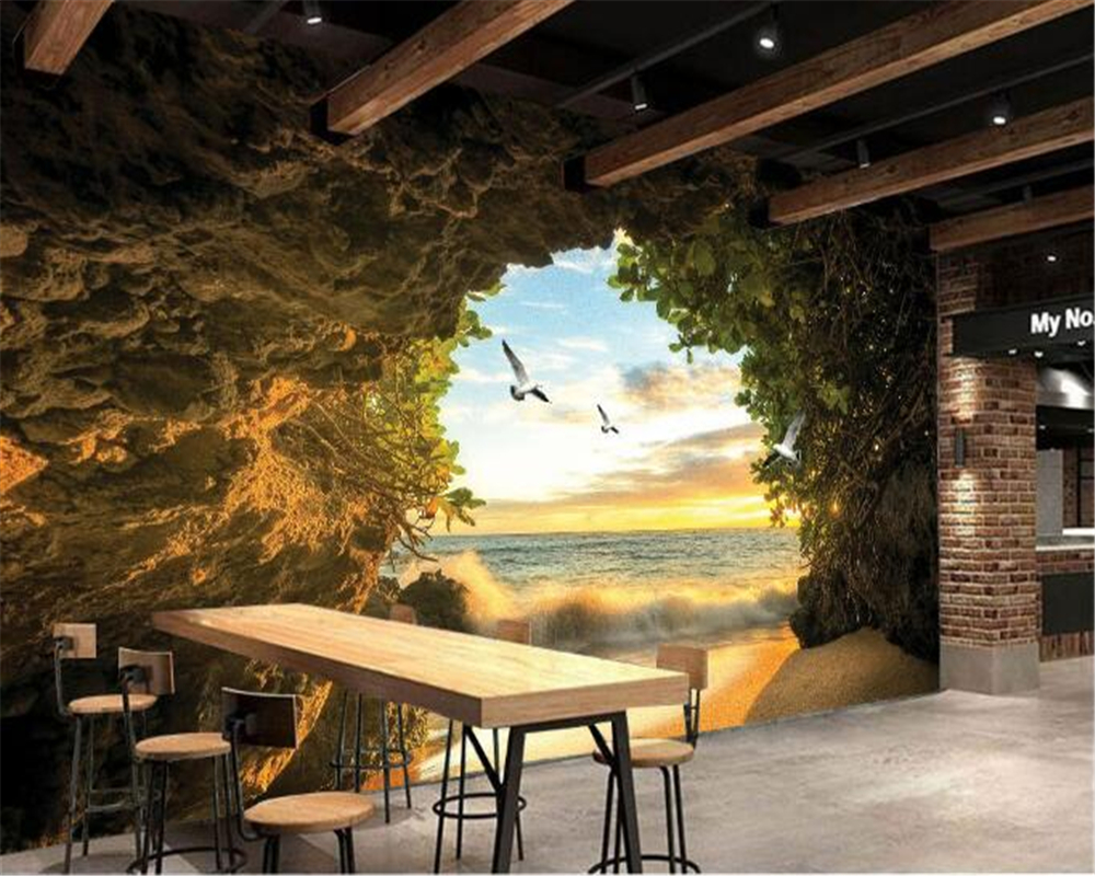 Beibehang 3D Wallpaper Home Decorative Mural Cave Photo Wallpaper Living Room Bedroom TV Background Wallpaper For Walls 3 D