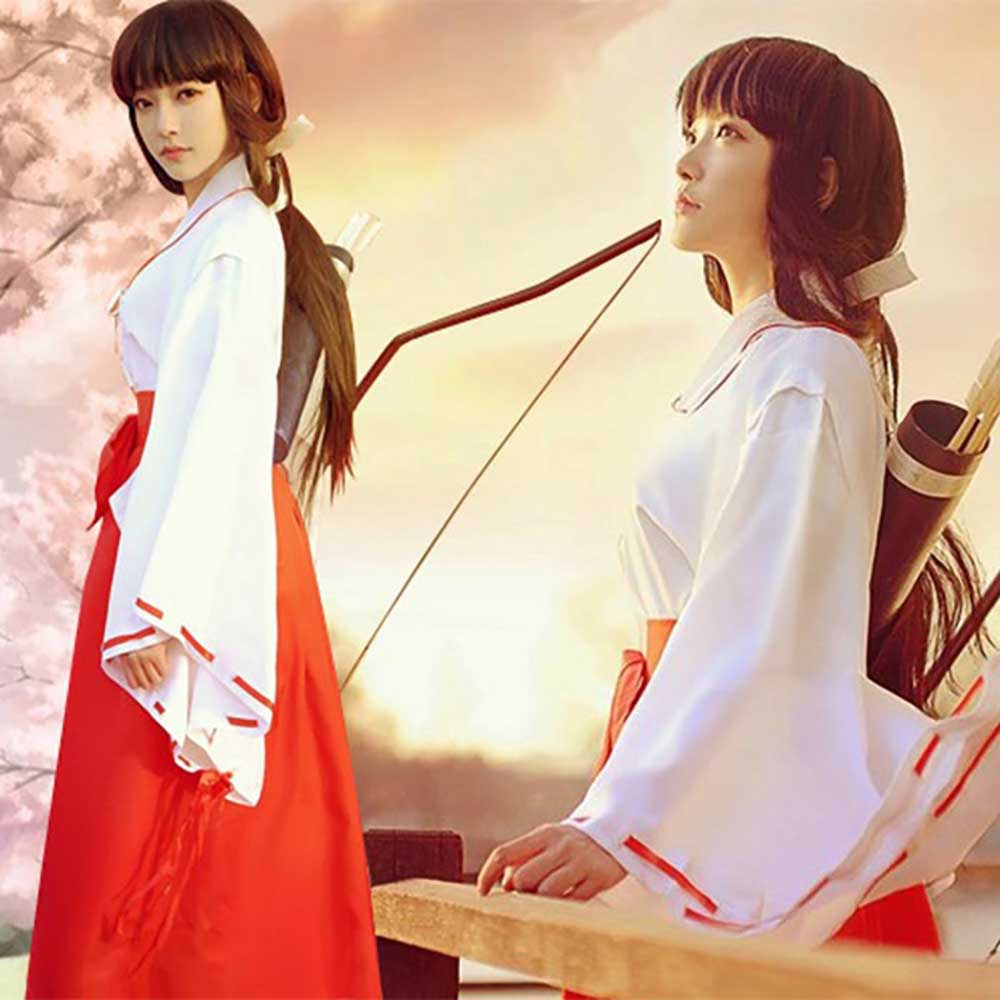 InuYasha Kikyo Miko Kimono Cosplay Costume Japanese Witch Costume Women's White Kimono Red Hakama Pants Outfit Halloween Costume