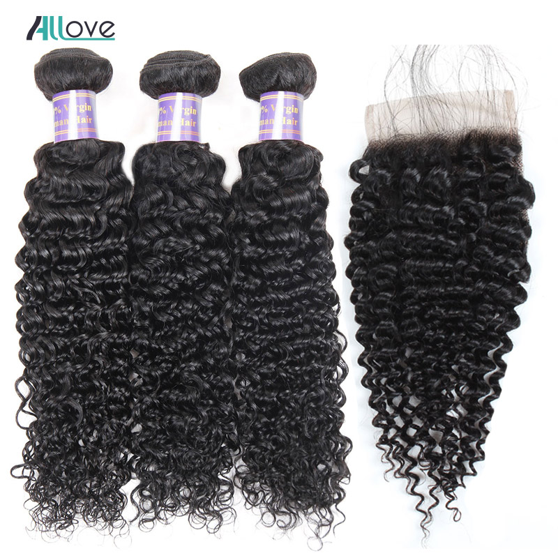 Kinky Curly Hair Weave With Closure Malaysian Hair Bundles With Lace Closure Human Hair Extensions With