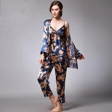 купить Women Sexy Silk Satin Pajama Set 3 Pieces Print Pijama Set Summer Pyjama Femme Fashion Sleepwear Set Leisure Home Clothing по цене 1245.97 рублей