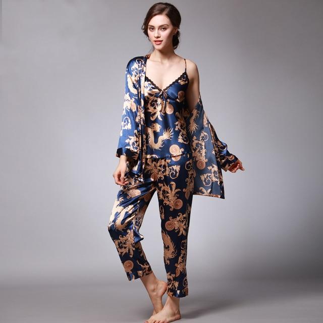 Women Sexy Silk Satin Pajama Set 3 Pieces Print Pijama Set Summer Pyjama  Femme Fashion Sleepwear Set Leisure Home Clothing ce461d002