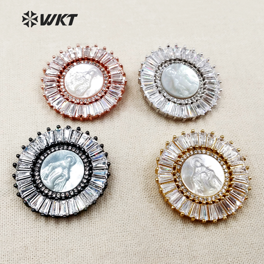 MP094 WKT Pretty Spark CZ Micro Pave Pendants With Round Shape Blessed Virgin Mary White Shell