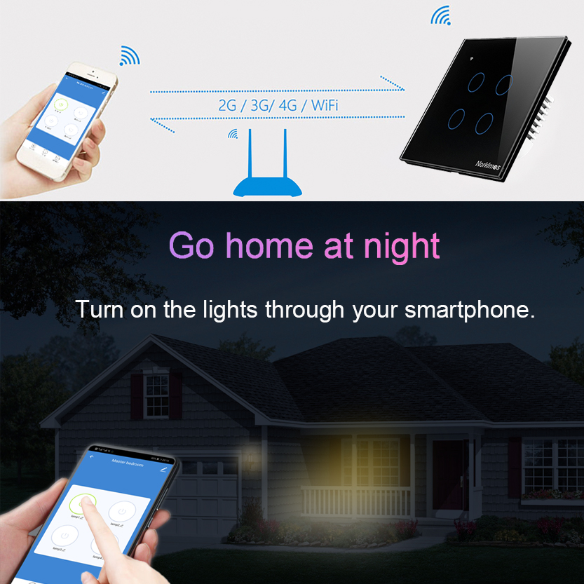 Commutateur tactile Wifi 2.4G Smart Home 4 gang 2way commutateur tactile panneau mural 220 V, norme EU/UK Smart Led Wifi contrôle Alexa pour Vhome - 2