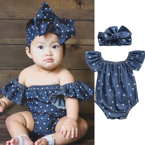 2019 Baby Girl Summer Clothing Denim Blue Cotton 2pcs Outfits Romper Clothes Set For Kid Clothes Toddler Children Newborn