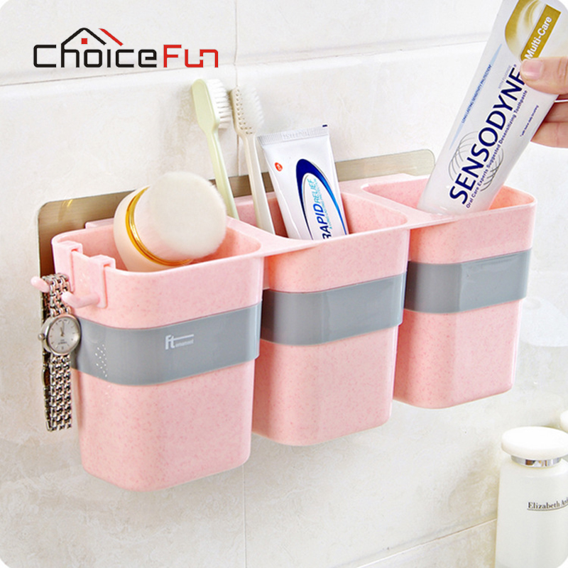 CHOICE FUN 3 Cups Multifunctional Family Pink Wall Mounted Plastic Toothpaste And Electric Toothbrush Holder For Bathroom image