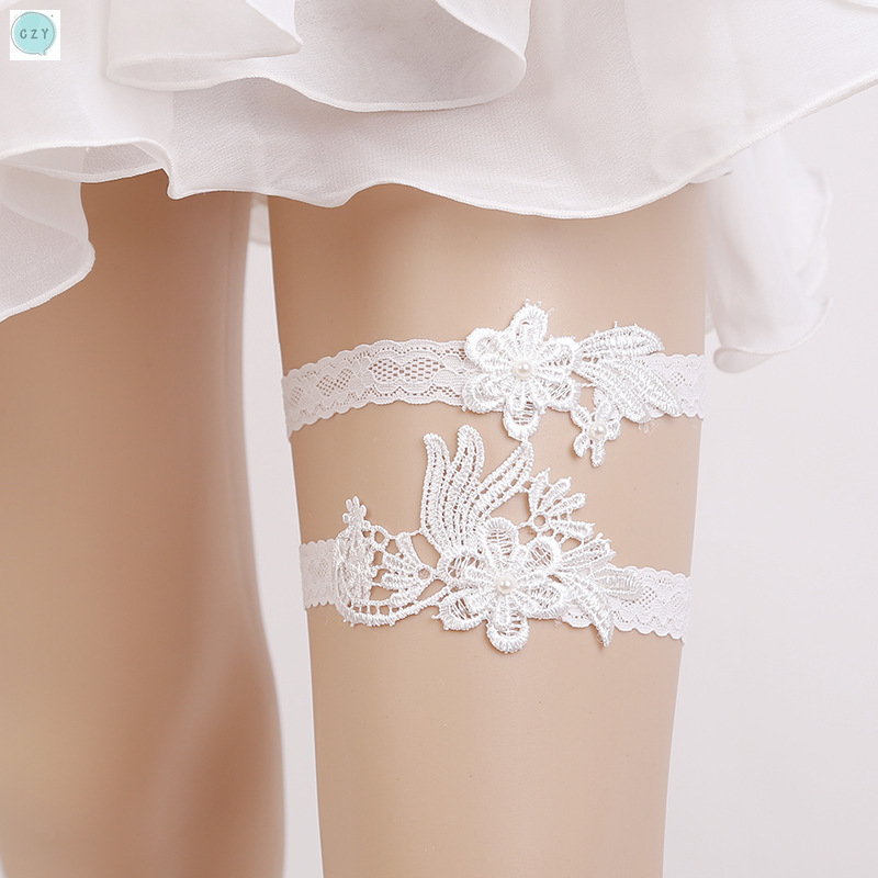 Split Type White Lace Sexy Garter Brides Garters Thigh Ring Wedding Accessories White Embroidery Floral Sexy Garters for Bride in Party DIY Decorations from Home Garden