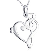 GNX11964 100 Real Pure 925 Sterling Silver Classic Vintage Music Note Necklace Luxury Sexy Jewelry Fashion
