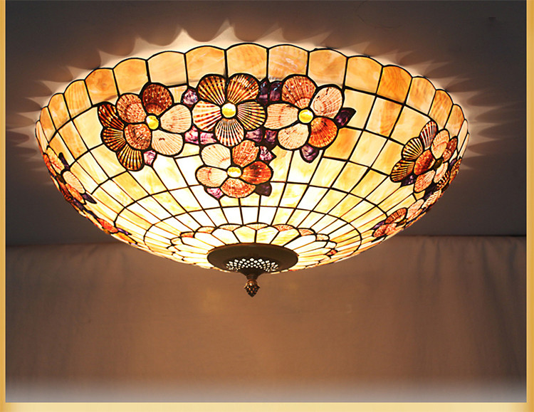 European shell Mediterranean Sea pastoral Tiffany   Ceiling Lights luminaria teto Ceiling Lamps For Home Decoration