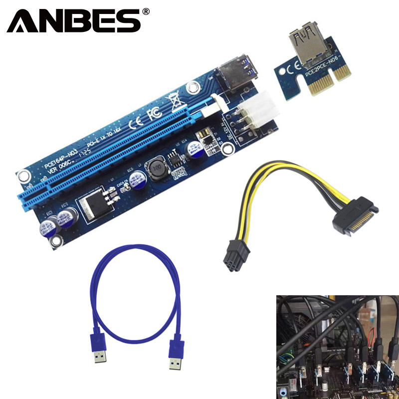 ANBES PCI-E PCI Express 1x to 16x Mining Machine Extender Riser Card Board Adapter with 15Pin to 6Pin Power Cable USB 3.0 Cables new usb3 0 008s pci e riser express 1x 4x 8x 16x extender riser adapter card sata 15pin to 6pin power cable dual power interface