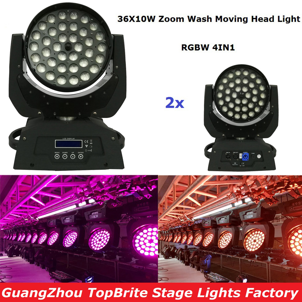 2XLot Free Shipping 36x10W 4IN1 Zoom Led Moving Head Light RGBW 4IN1 DMX512 Led Moving Head Wash Beam Effect Light New Arrival freeshipping 2xlot 16 head led moving head spider light endless rotation 16x25 high power rgbw 4in1 beam full color lcd display