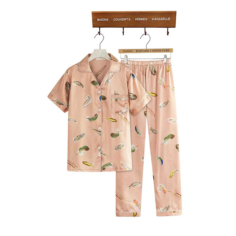 b80e533635 Aliexpress.com   Buy Caiyier 2018 Silk Pajamas Set Feather Print V Neck  Summer Casual Pajamas Pants Shorts Pajamas Women Four Sets Sleepwear DXT01  from ...