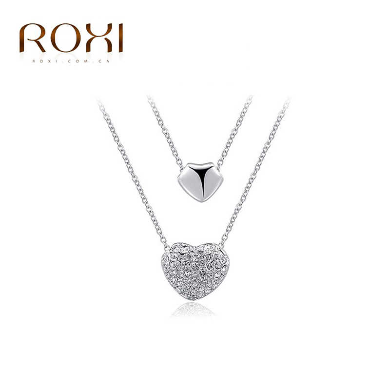 ... ROXI Heart Choker Necklace Pendants Necklace For Women Double Heart  Chain Charm Long Necklace Fashion Jewelry ... acd1ddefce02