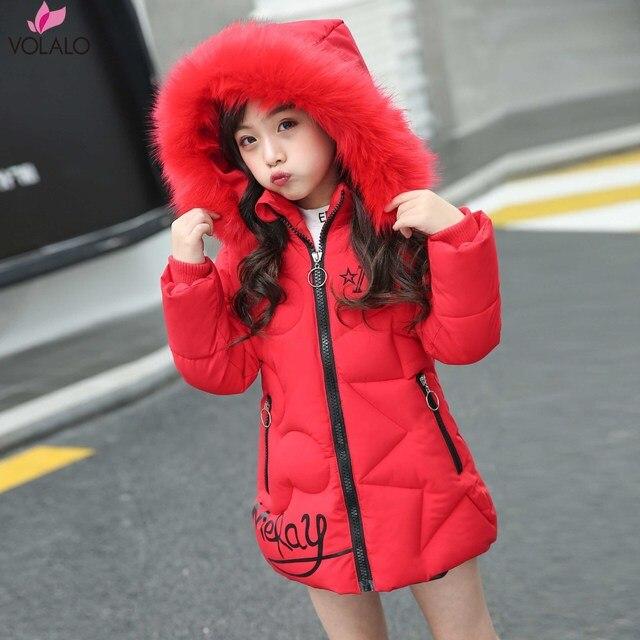 Big Promo 2018 Korean Brand Girls Jackets Kids Faux Fur Collar Detachable Hooded Coat Children Winter Thicken Outwear Kid Parkas 2-12 Year
