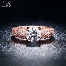 18K Rose Gold Plated Rings for woman AAA CZ diamond Jewelry four claw Ring Wedding Bijoux Accessories bague anillos KR003