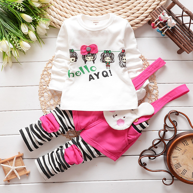 Baby Girl Fall Clothes 2017 Korean Long Sleeved T-shirt Tops + Cute Rabbit Overalls Childrens Outfits Kids Bebes Jogging Suits