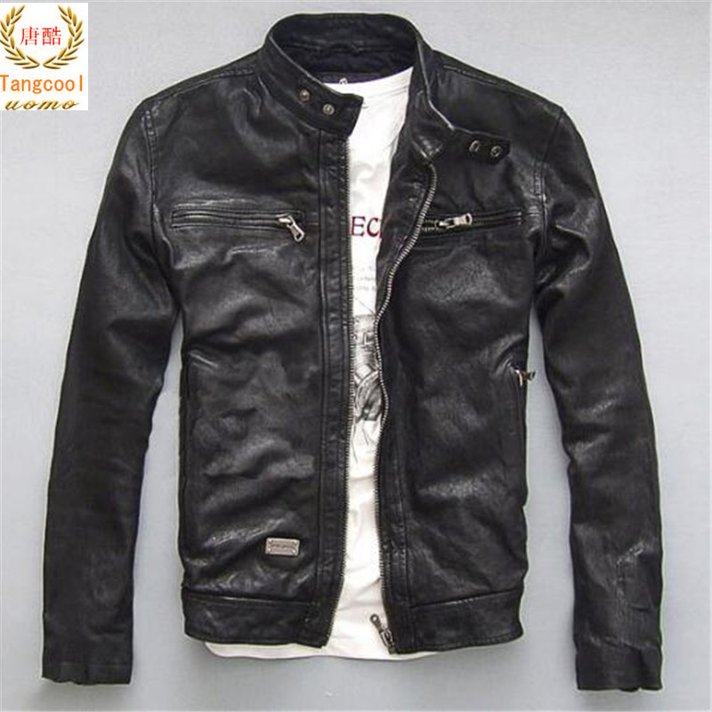 size XS 5XL Leather Jacket Genuine Real Sheep Goat skin Brand Black Male Bomber Motorcycle Biker Man's Coat Autumn Spring