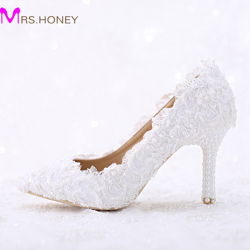 цена на Pointed Toe White Lace and Pearl Bridal Wedding Shoes Women Thin Heel Comfortable Dancing Shoes Handmade Birthday Party Pumps