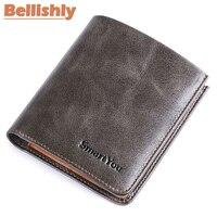 Bellishly famous Brand luxury man wallet Vintage casual porte monnaie homme genuine leather Mini small bendy men purses handmade