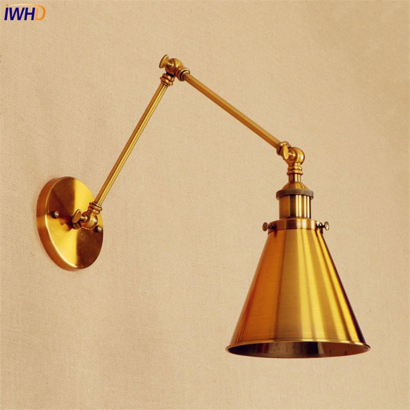 Industrial Retro Vintage Wall Light Copper Edison Loft Style Lighing Swing Long Arm Wall Sconce Wandlamp Apliques Pared Murale glass wooden arm retro vintage wall lamp led edison style loft industrial wall light sconce home lighting appliques pared
