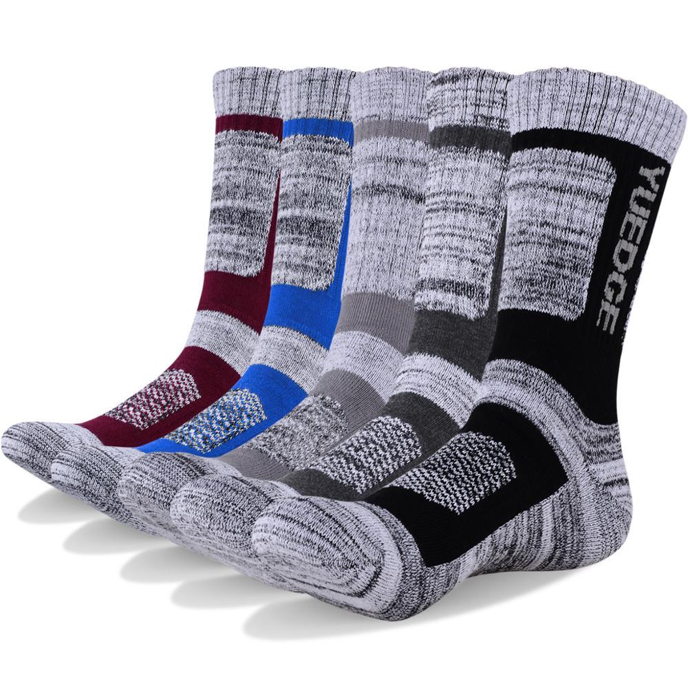 YUEDGE бренд высокое качество 5 пар Для мужчин влагу подушки открытый Спортивные носки для Пеший Туризм ходьба Бег восхождение альпинизмом Лыжный Спорт