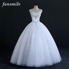 Fansmile באיכות קריסטל ריינסטון כדור חתונת שמלות 2020 Vestido דה Novia מותאם אישית בתוספת גודל שמלות משלוח חינם FSM 322F