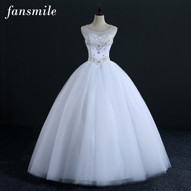 Fansmile Quality Crystal Rhinestone Ball Wedding Dresses 2020 Vestido de Novia Customized Plus Size Gowns Free Shipping FSM 322F