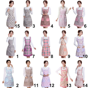 Women Apron with Pockets Waterproof Plaid Print Kitchen Double Layer Anti-oil Aprons Kitchen Cooking Thick Cloth Home Supplies tights