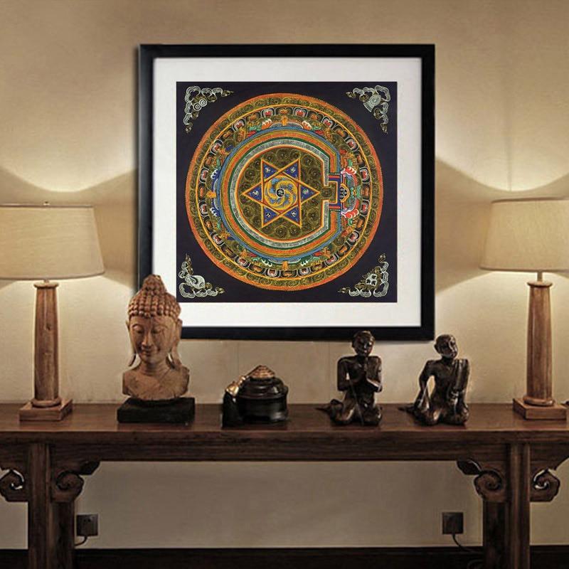 Nepal Buddhist Shrine Mandala Faith Buddha Oil Canvas Art Painting Wall Tibet Thangka Art Painting Printed
