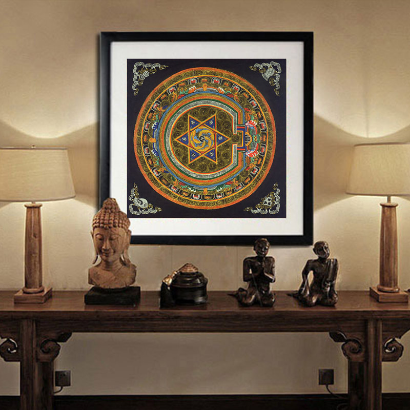 US $7 42 25% OFF|Nepal buddhist shrine mandala faith buddha oil canvas art  painting wall tibet thangka art painting printed home decor-in Painting &