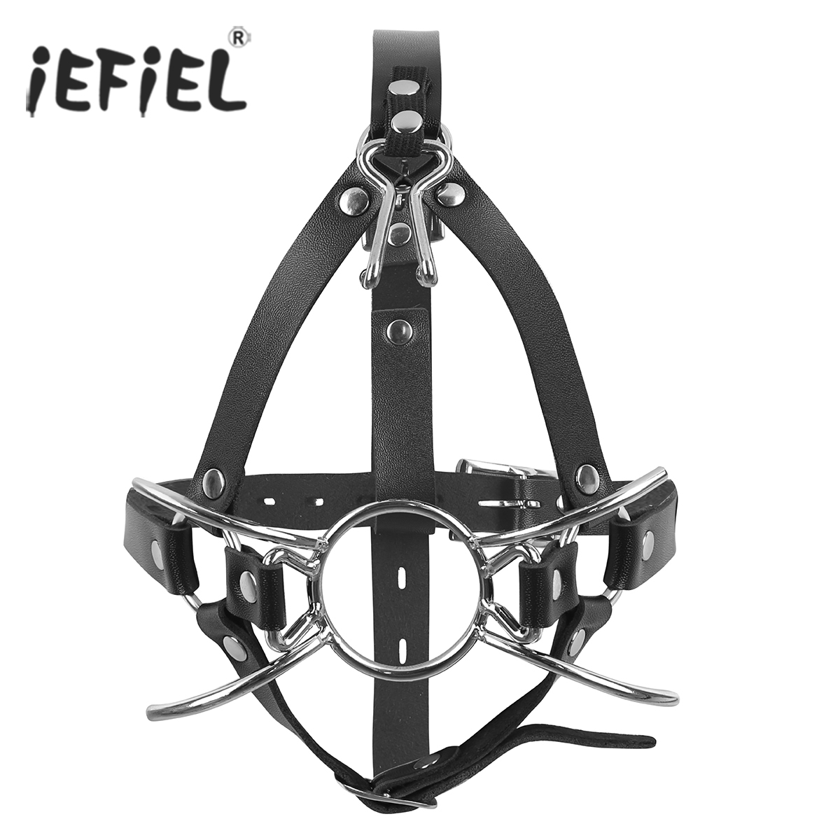 Black Adjustable Leather Bite-Resistant Fixed Open Mouth O-Ring Fixed Masks Sexy Costumes Accessories for Adult Womens