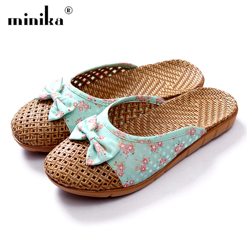 Women' Flat Slippers Indoor Home Slippers Linen Female Bathroom Flip-flop Summer Beach Mules shoes woman sandalis mujer 2018