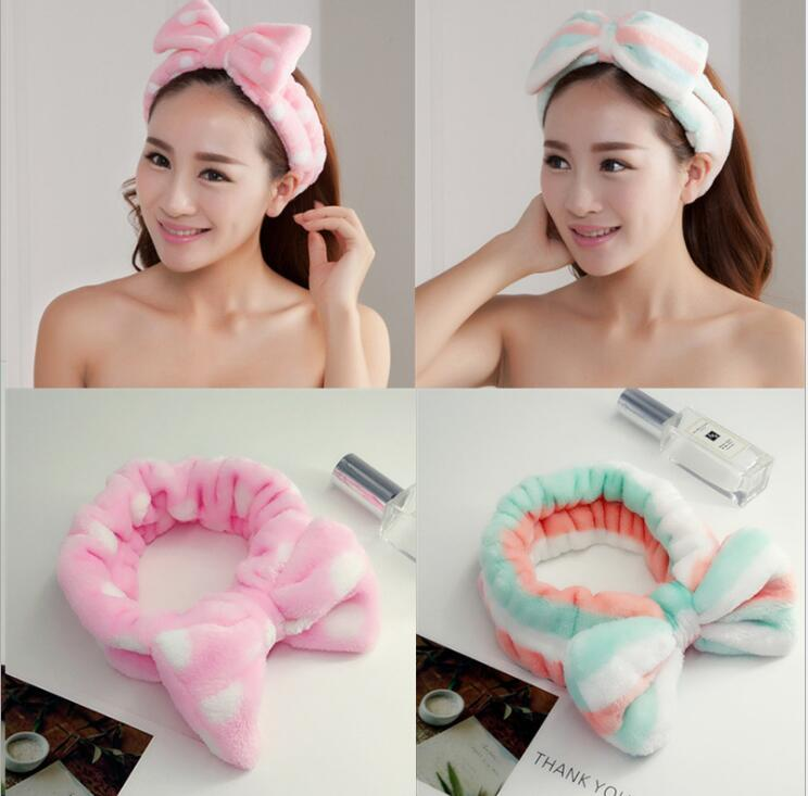 Women's   Headwear   Hair Bow Dot Striped Coat Soft Shower Bath Spa Hair Band Hair Makeup Cute Rich Elastic