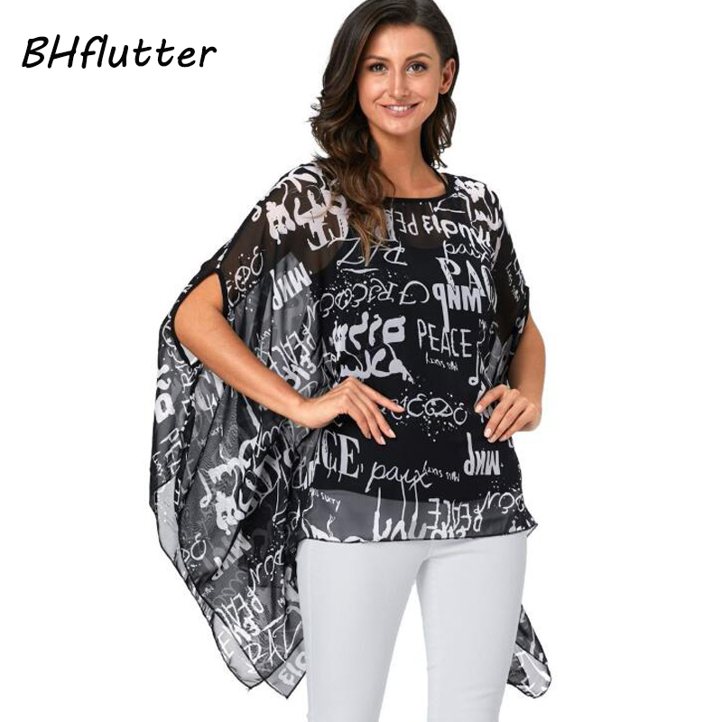 BHflutter 4XL 5XL 6XL Plus Size Women Clothing 2018 Summer   Blouse     Shirt   Batwing Sleeve Casual Chiffon   Blouses   Blusas Feminina