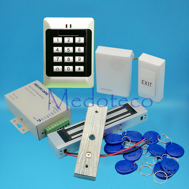Full 125khz Rfid Card Door Access Control System Kit EM Card Access Controller +350lbs Magnetic Lock +Power Unit low cost m07e access control kit without software waterproof card reader card access control device with magnetic lock