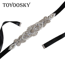New Arrival Rhinestone Wedding Belts Crystal Belt Satin Dress Accessories Bridal Ribbon