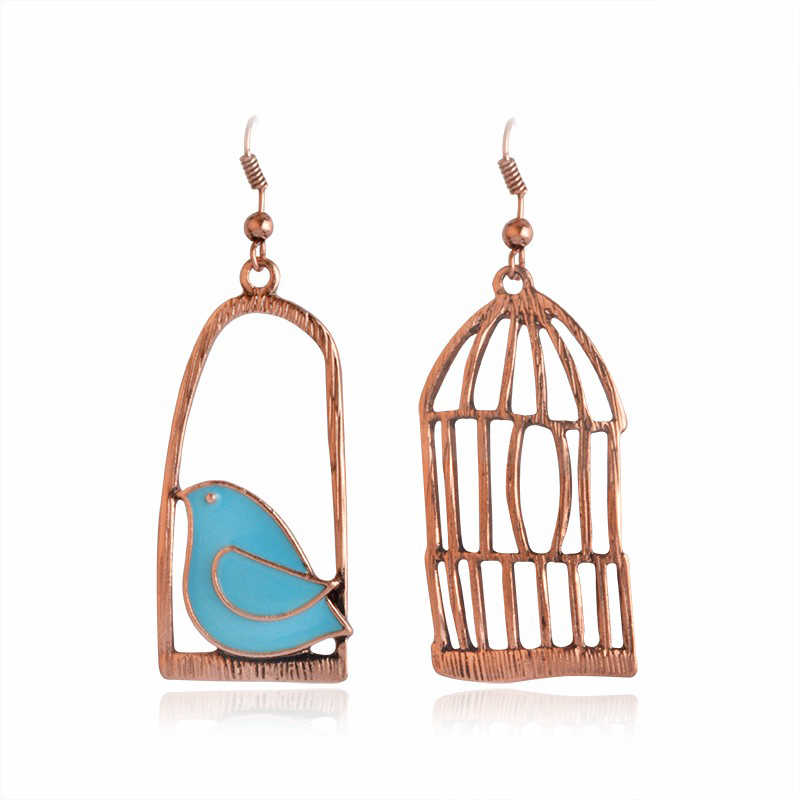 Antique Diy Design Blue Bird Animal Bird Cage Enamel Pendant Earrings Creative Gender Sex Jewelry Female Friends Gift Aliexpress