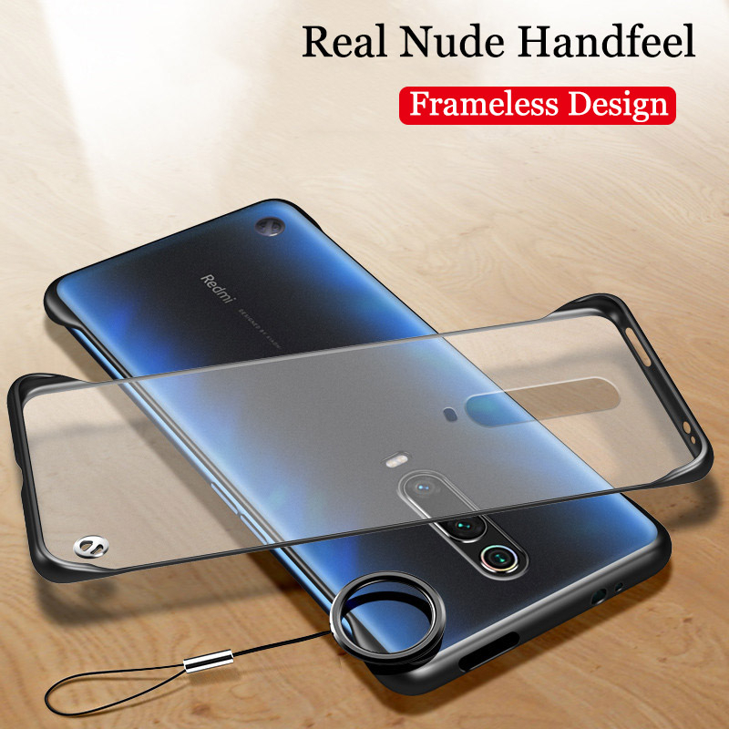 Phone Case For Xiaomi Mi 9T CC9 Redmi K20 Pro Luxury Frameless With Finger Ring Design Scrub Hard PC Back Cover Protect Fundas