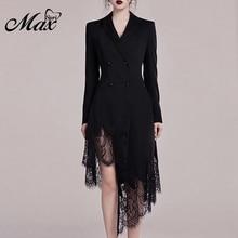 Max Spri 2019 New Arrivals Black Suit Dress V Neck Long Sleeves Button Lace Aymmetrical Hemline Women Fashion Wrap