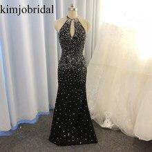 Женское вечернее платье с юбкой годе Черное длинное лямкой на
