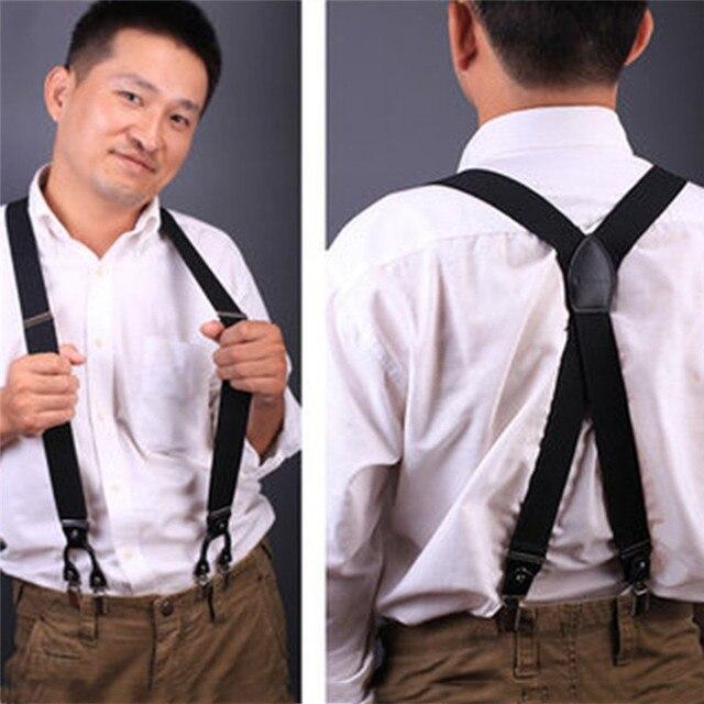 6 2017 de pantalones de Clips moda tirantes estilo cuero Vintage Suspender Hombre occidental casuales nueva 7ggrIqnR