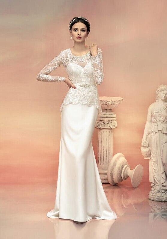 Sheath Wedding Gown Pattern : Lace pattern bodice peplum sheath stretch satin mermaid wedding dress